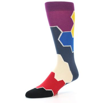 Image of Grey Purple Red Blue Honeycomb Men's Dress Socks (side-2-09)
