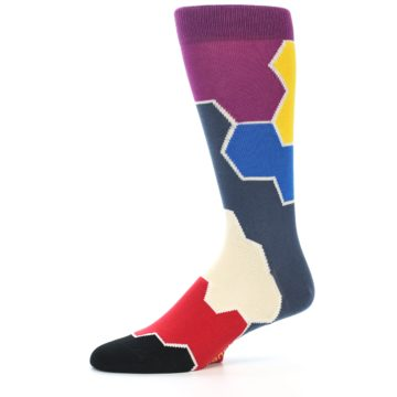 Image of Grey Purple Red Blue Honeycomb Men's Dress Socks (side-2-10)