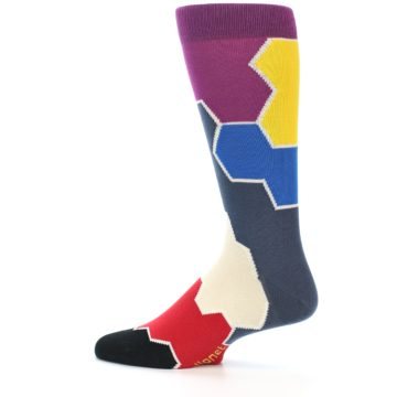 Image of Grey Purple Red Blue Honeycomb Men's Dress Socks (side-2-12)