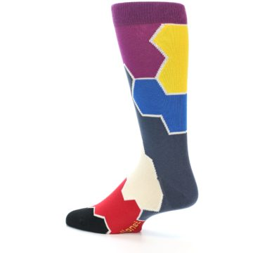 Image of Grey Purple Red Blue Honeycomb Men's Dress Socks (side-2-13)