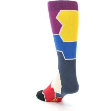 Image of Grey Purple Red Blue Honeycomb Men's Dress Socks (side-2-back-15)