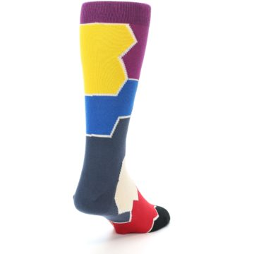 Image of Grey Purple Red Blue Honeycomb Men's Dress Socks (side-1-back-20)