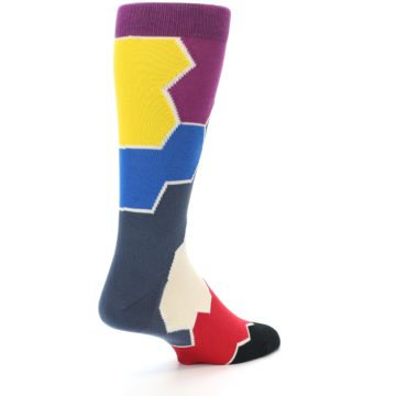Image of Grey Purple Red Blue Honeycomb Men's Dress Socks (side-1-back-21)