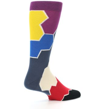 Image of Grey Purple Red Blue Honeycomb Men's Dress Socks (side-1-back-22)