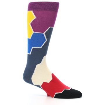 Image of Grey Purple Red Blue Honeycomb Men's Dress Socks (side-1-25)