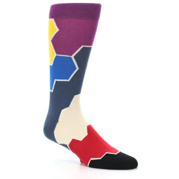 Image of Grey Purple Red Blue Honeycomb Men's Dress Socks (side-1-26)