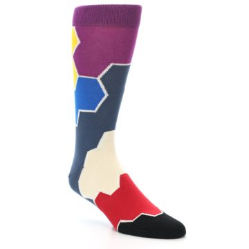 Image of Grey Purple Red Blue Honeycomb Men's Dress Socks (side-1-27)