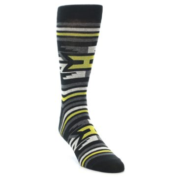 Image of Black Grey Yellow Stripe Pattern Men's Dress Socks (side-1-front-02)