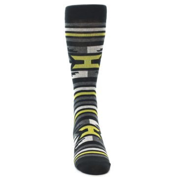 Image of Black Grey Yellow Stripe Pattern Men's Dress Socks (front-04)