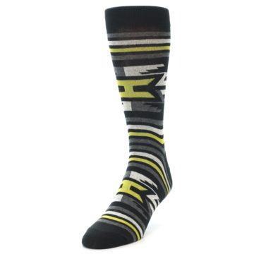 Image of Black Grey Yellow Stripe Pattern Men's Dress Socks (side-2-front-07)