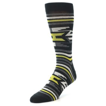 Image of Black Grey Yellow Stripe Pattern Men's Dress Socks (side-2-front-08)