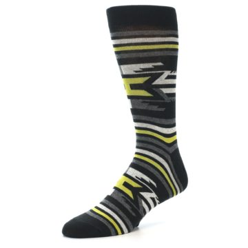 Image of Black Grey Yellow Stripe Pattern Men's Dress Socks (side-2-09)