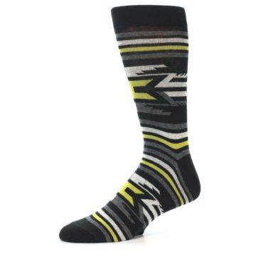 Image of Black Grey Yellow Stripe Pattern Men's Dress Socks (side-2-10)