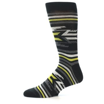 Image of Black Grey Yellow Stripe Pattern Men's Dress Socks (side-2-11)