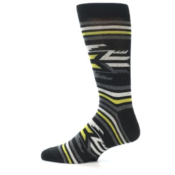 Image of Black Grey Yellow Stripe Pattern Men's Dress Socks (side-2-12)