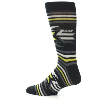 Image of Black Grey Yellow Stripe Pattern Men's Dress Socks (side-2-13)