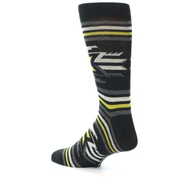 Image of Black Grey Yellow Stripe Pattern Men's Dress Socks (side-2-back-14)