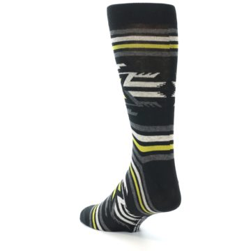 Image of Black Grey Yellow Stripe Pattern Men's Dress Socks (side-2-back-15)