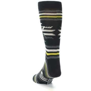 Image of Black Grey Yellow Stripe Pattern Men's Dress Socks (side-2-back-16)
