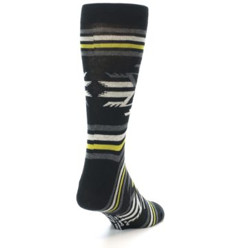 Image of Black Grey Yellow Stripe Pattern Men's Dress Socks (side-1-back-20)