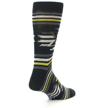 Image of Black Grey Yellow Stripe Pattern Men's Dress Socks (side-1-back-21)