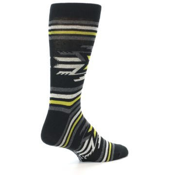 Image of Black Grey Yellow Stripe Pattern Men's Dress Socks (side-1-back-22)