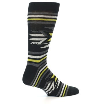 Image of Black Grey Yellow Stripe Pattern Men's Dress Socks (side-1-23)
