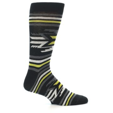 Image of Black Grey Yellow Stripe Pattern Men's Dress Socks (side-1-24)