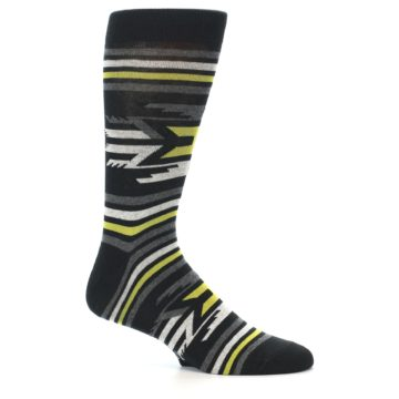 Image of Black Grey Yellow Stripe Pattern Men's Dress Socks (side-1-25)
