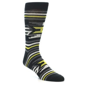Image of Black Grey Yellow Stripe Pattern Men's Dress Socks (side-1-27)