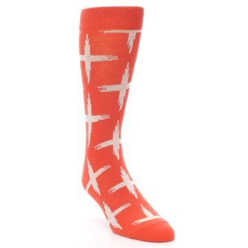 Image of Orange White Cross Pattern Men's Dress Socks (side-1-front-02)