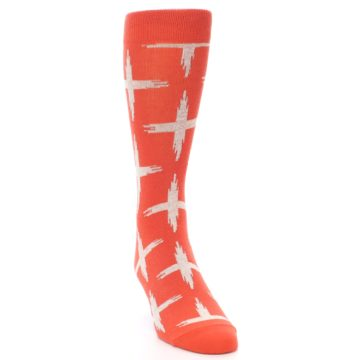 Image of Orange White Cross Pattern Men's Dress Socks (side-1-front-03)