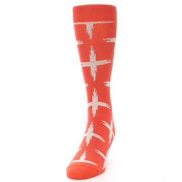Image of Orange White Cross Pattern Men's Dress Socks (side-2-front-06)