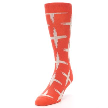 Image of Orange White Cross Pattern Men's Dress Socks (side-2-front-07)