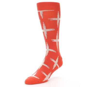Image of Orange White Cross Pattern Men's Dress Socks (side-2-front-08)