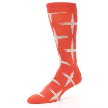 Image of Orange White Cross Pattern Men's Dress Socks (side-2-09)