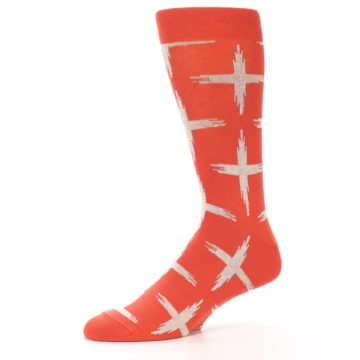 Image of Orange White Cross Pattern Men's Dress Socks (side-2-10)