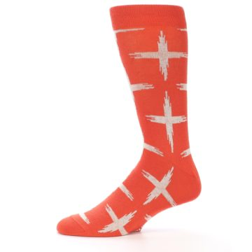Image of Orange White Cross Pattern Men's Dress Socks (side-2-11)
