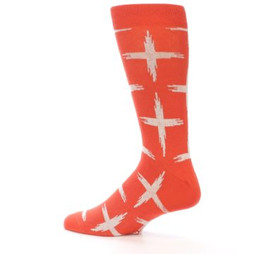Image of Orange White Cross Pattern Men's Dress Socks (side-2-13)