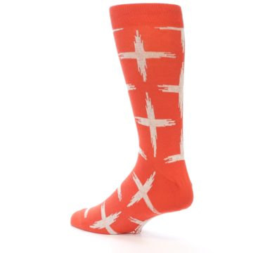 Image of Orange White Cross Pattern Men's Dress Socks (side-2-back-14)