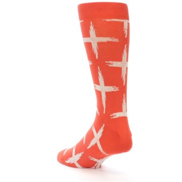Image of Orange White Cross Pattern Men's Dress Socks (side-2-back-15)