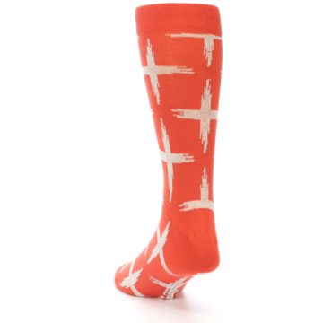 Image of Orange White Cross Pattern Men's Dress Socks (side-2-back-16)