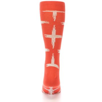 Image of Orange White Cross Pattern Men's Dress Socks (back-18)