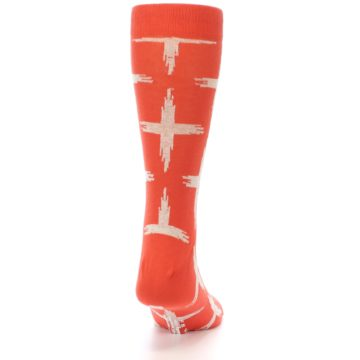 Image of Orange White Cross Pattern Men's Dress Socks (back-19)