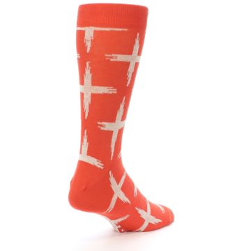 Image of Orange White Cross Pattern Men's Dress Socks (side-1-back-21)