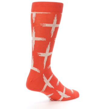 Image of Orange White Cross Pattern Men's Dress Socks (side-1-back-22)