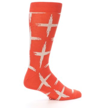 Image of Orange White Cross Pattern Men's Dress Socks (side-1-23)