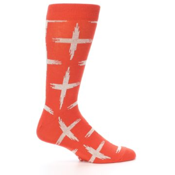 Image of Orange White Cross Pattern Men's Dress Socks (side-1-24)