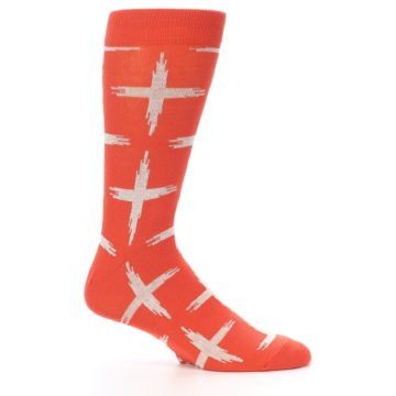 Image of Orange White Cross Pattern Men's Dress Socks (side-1-25)