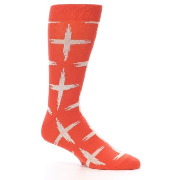 Image of Orange White Cross Pattern Men's Dress Socks (side-1-26)